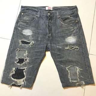 Levi's 501 早期排釦破壞刷色5分牛仔短褲 古著