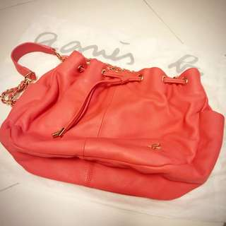 【二手 95% New】agnes b. drawstring bag (Leather in Coral Color)