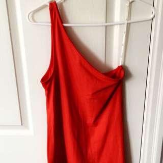 One Shoulder Orange Shirt-Dress (Forever21)