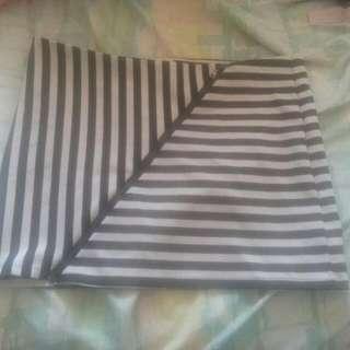 black and white stripped mini skirt