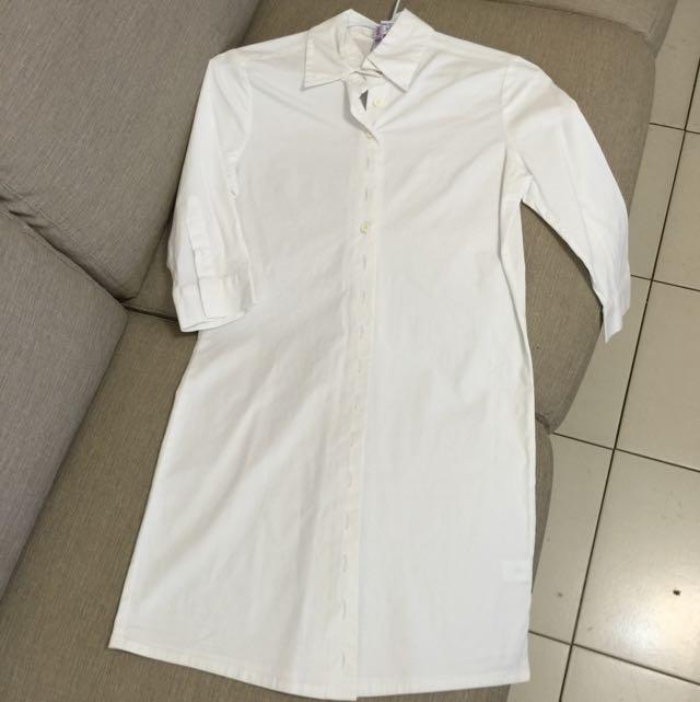 保留-質感長版白襯衫
