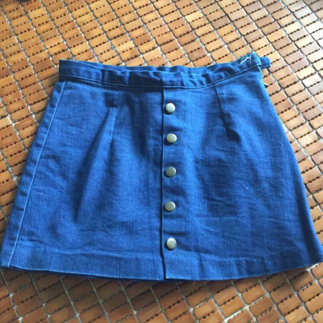 牛仔短褲裙(深藍)