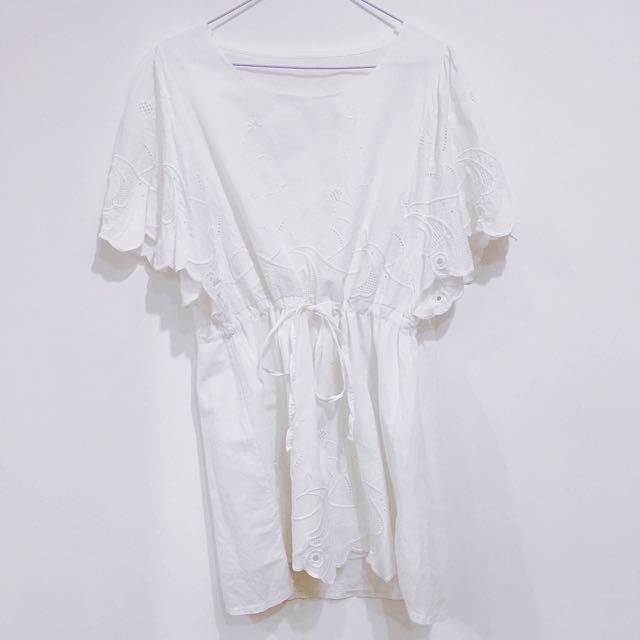 夏日純白印花抽繩洋裝