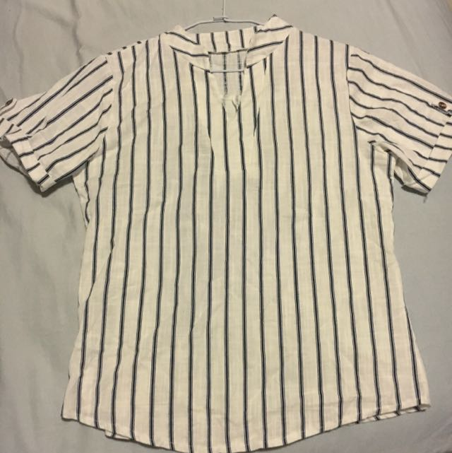 條紋棉麻襯衫