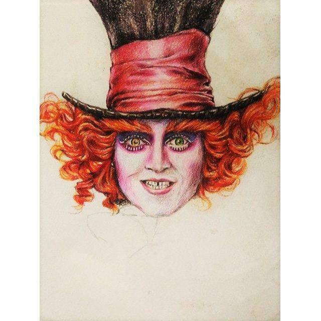 瘋狂帽客 愛麗絲夢遊仙境 強尼戴普 色鉛筆畫