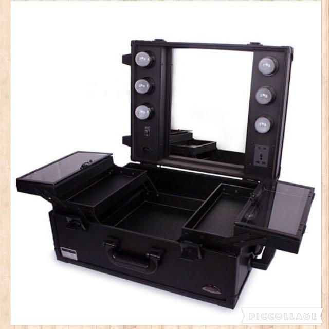 🇺🇸歐美 桌上型 燈泡拉桿專業 彩妝箱 收納箱 化妝台 ✨