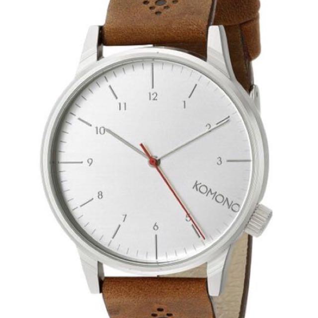 :: 全新KOMONO比利時咖啡色質感皮革花雕錶 全新正品有保固 ::