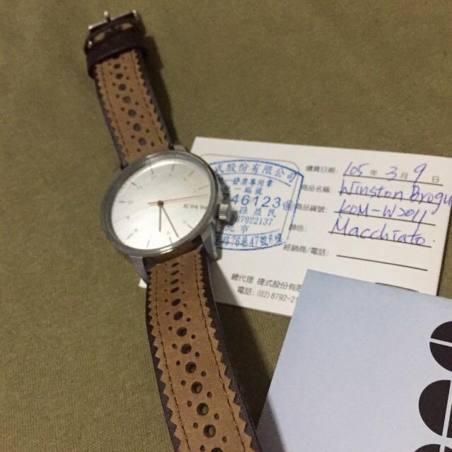 :: 全新KOMONO比利時咖啡色質感皮革花雕錶 KOMONO WINSTON BROGU全新正品有保固 ::