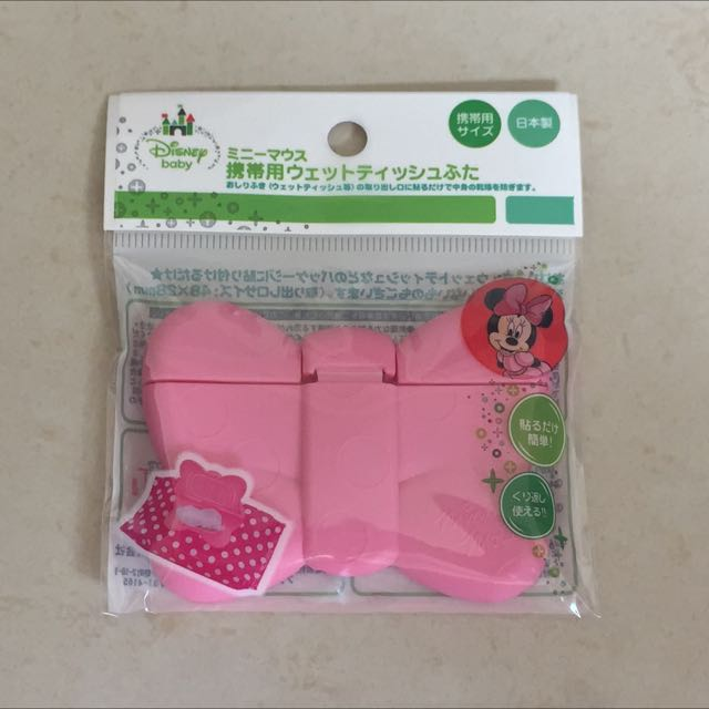 * Sukena * 日本製 阿卡將 Disney 迪士尼 粉紅 蝴蝶結濕紙巾蓋 重覆黏貼濕紙巾蓋