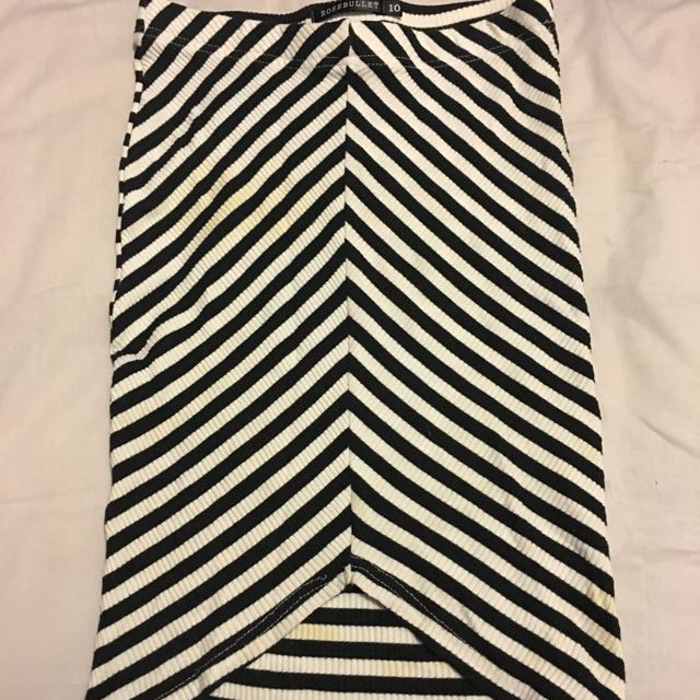 A Line Skirt Black And White Stripe