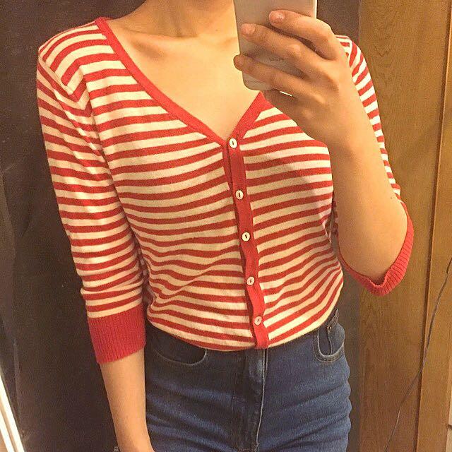 agnès.b 巴黎女孩紅白條紋針織小外套