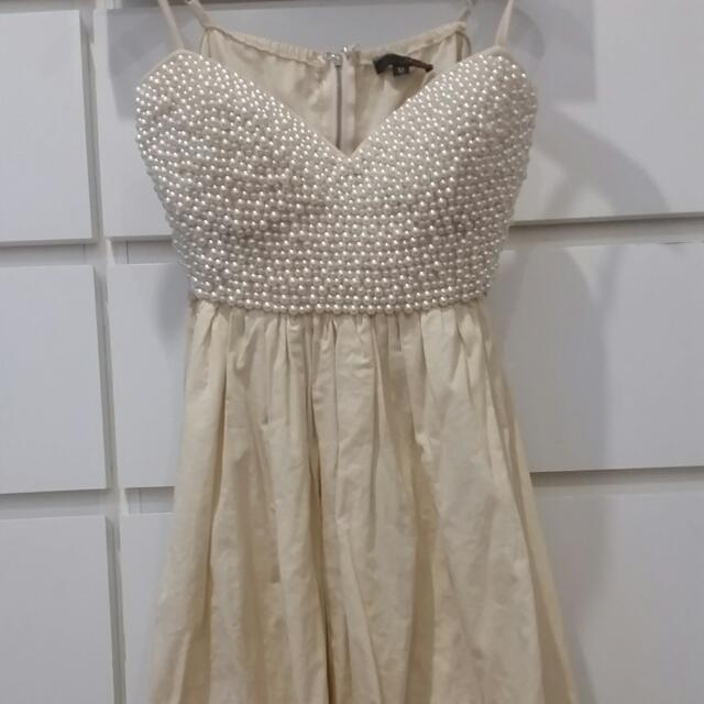 Beige Pearl Covered Dress