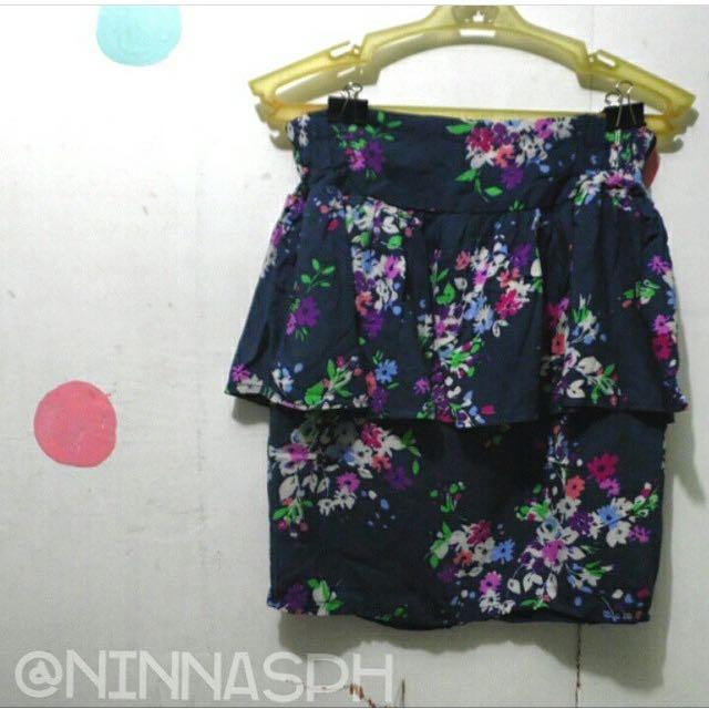Blue Floral Peplum Skirt