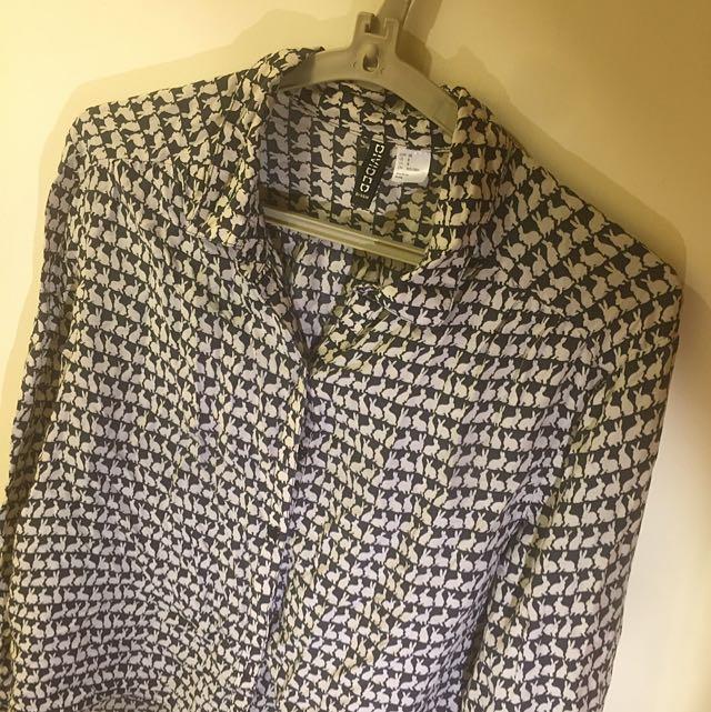 H&M 黑白兔子襯衫