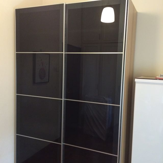half off 7b391 6bd06 IKEA: PAX Wardrobe, White Stained Oak, Uggdal Glass Door ...