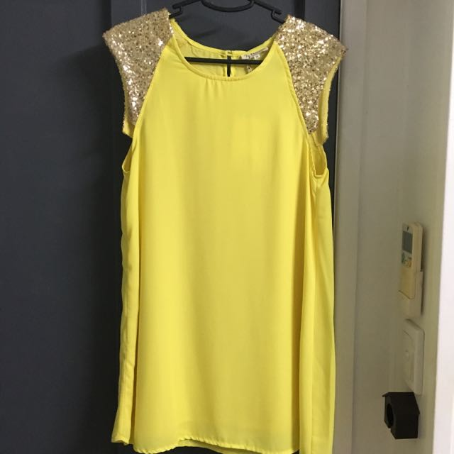 Jy Fashion Yellow Sequin Shoulder Dress Size 8