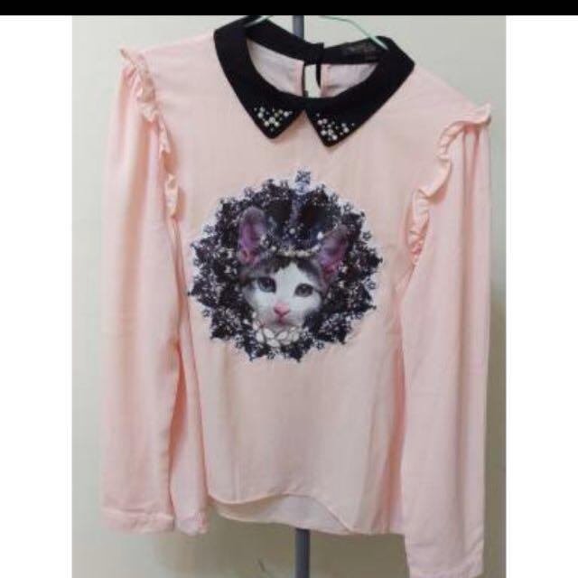 全新絲質粉色上衣(L號 含運)