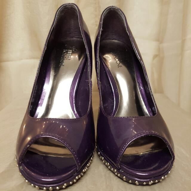Metallic Purple Heels With Studs