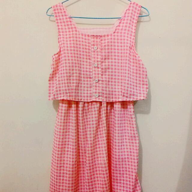 Pazzo風 粉紅格子洋裝