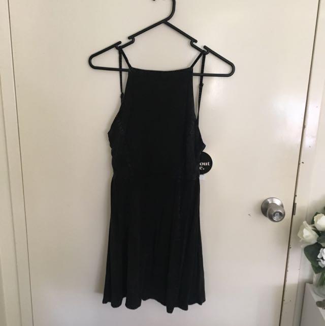 Rustic Backless Black Dress