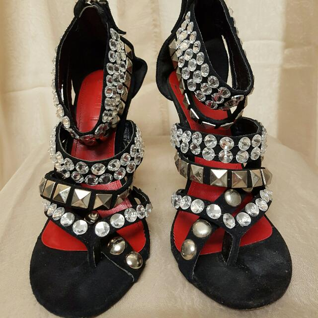 Siren Crystal Embellished Studded Heels