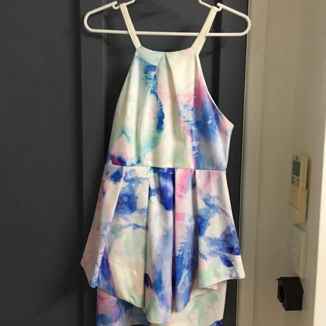 Watercolour Size 10 Peplum Dress Whoiam