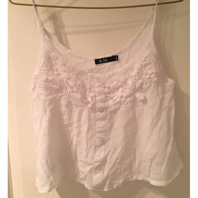 White crop top with lace floral feature