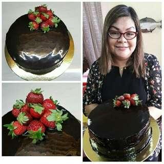Chocolate Mirror Glazed Strawberry Cake