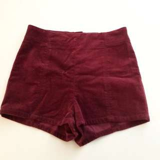 Crimson Velvet Kimchi Blue High Waisted Shorts