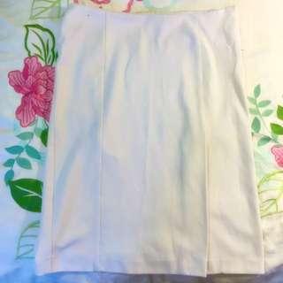 White Knee Length Skirt