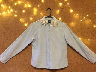 Denim Shirt with Daisy brooch