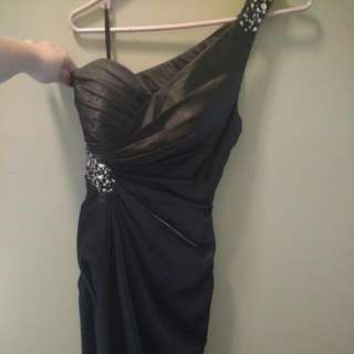 One Shoulder Black Satin Prom Dress