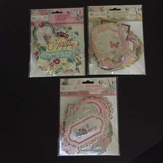 75 Pieces Of Cardstock Die Cuts @ $10 Only