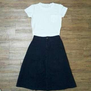 保留)全新小口袋白色短袖上衣+深藍A字牛仔長裙 *組合賣兩件只要150