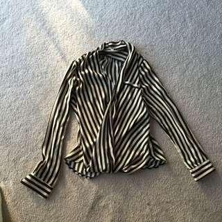 Beige And Black Striped Sheer Shirt