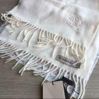 Burberry 圍巾 經典純白色100%喀什米爾圍巾