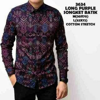 Long Purple Songket Batik