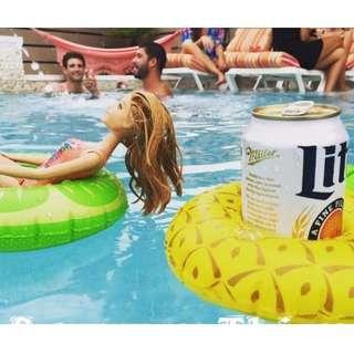 🚚 水果三件組 夏天超夯 飲料杯座 可樂 啤酒 歐美 泳池 充氣 泳圈 飲料座 沙灘 海邊 游泳圈 派對