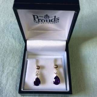 *PENDING* Prouds Sterling Silver, Amethyst & Diamond Earrings