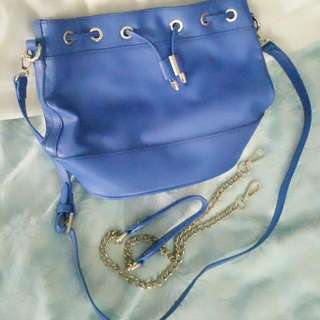 Blue Shoulder bag With Another Gold Chain Replacement strap
