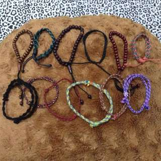 Gelang Persik, Bulat, Kayu, Kain / Bracelet