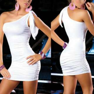 White One-Shoulder Pinched Sides Minidress Clubwear s-m