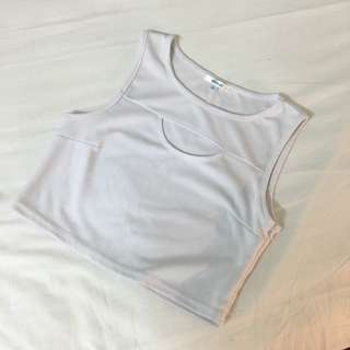 White Crop Top with Front Detail