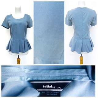 Initial HK Fitted Cap Sleeve Peplum Top
