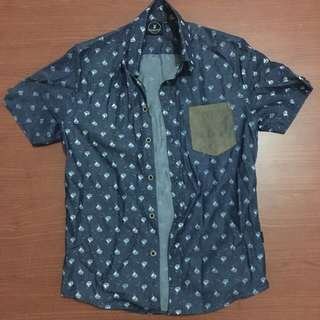Flesh Imp Blue Ship-Print Shirt XS