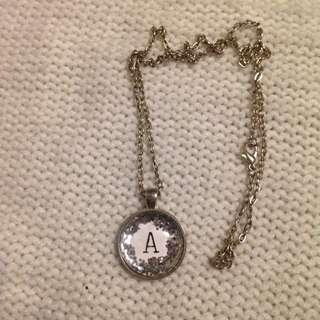 FREE POST handmade 'A' glitter pendant necklace