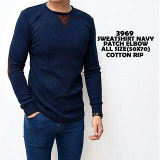 Sweatshirt Navy Patch Elbow