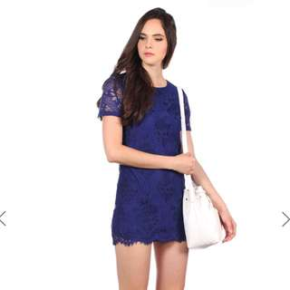 TSW Paige Lace Dress in Navy in XS