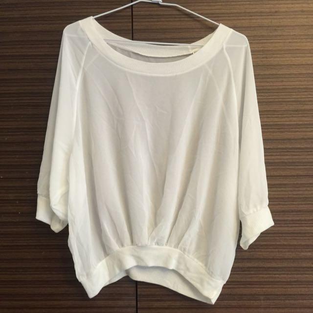白色雪紡罩衫