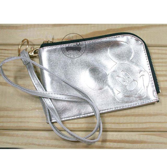 ALL.MY GOD【新品優惠價】迪士尼正版授權 含掛繩手機掛包-米奇銀色款  漆皮壓紋 手機包 手機袋 零錢包 萬用包 手拿包